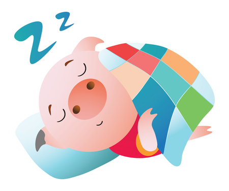 Emoji character.  A pig sleeping under a blanket