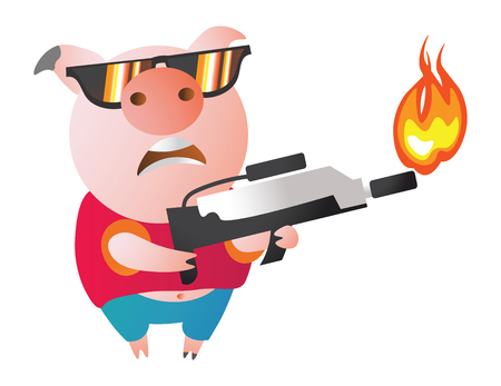 Emoji character Pig with flamethrower. Symbol of the new year 2019