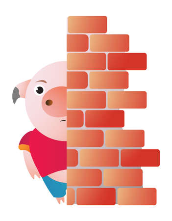 The pig hides behind the wall