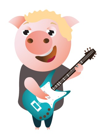 A funny piggy sings and plays on bass guitar. Illusztráció