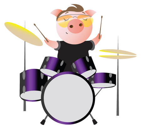 A funny piggy with sunglasses plays drums.