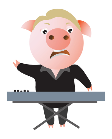 A funny pig sings expressively and plays keyboard. Ilustrace