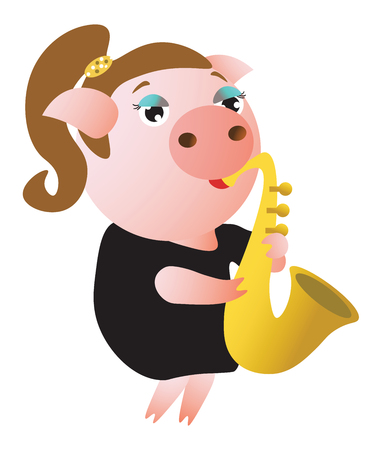 A cute piggy plays saxophone. Female