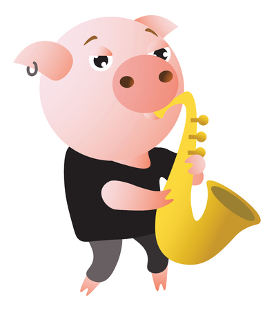 A funny pig plays saxophone. Male