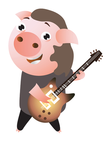 A funny cheerful rockstar piggy plays guitar. Illusztráció