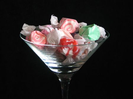 taffy: Taffy candy in glass