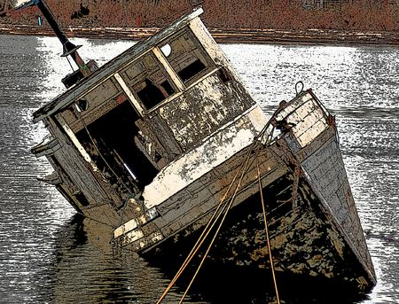 Old fish boat abandoned in river