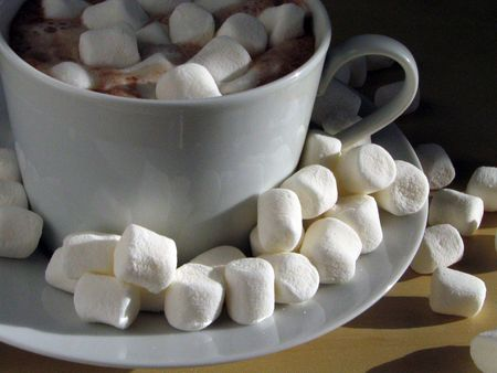 marshmallows: Cup of hot chocolate with marshmallows