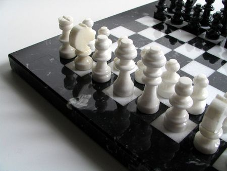 boardgames: Chess pieces in black and white Stock Photo