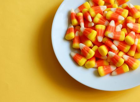 junkfood: Bowl of candy corn Stock Photo