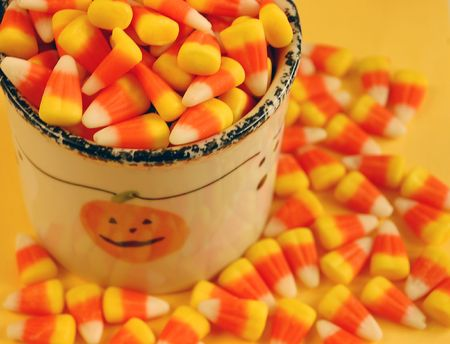 Candy corn in cup Stock Photo