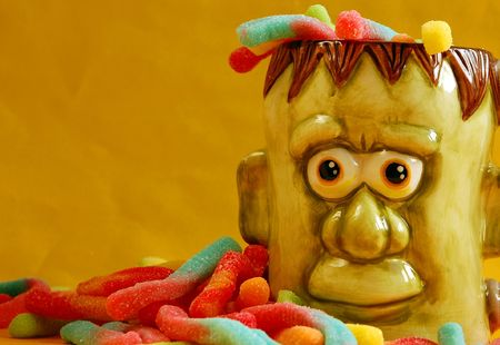 junkfood: Monster face with candy Stock Photo