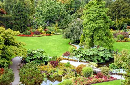 Garden park view Stock Photo