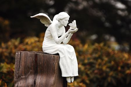 angel statue: White fairy sitting on post