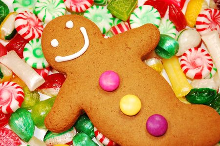gingerbread man: Gingerbread man and christmas candy Stock Photo