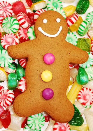 Ginger bread man and christmas candy photo