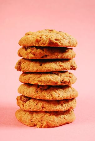 oatmeal: Stack of oatmeal raisin cookies Stock Photo
