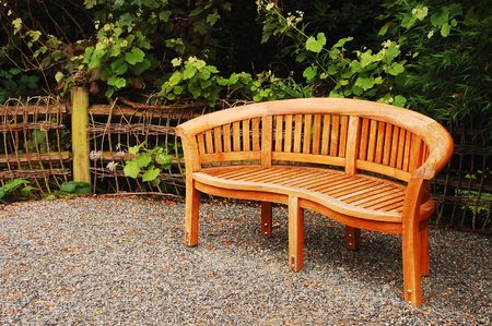 Houten tuin bench Stockfoto