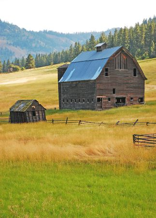 farm structures: Old shack and barn on farm