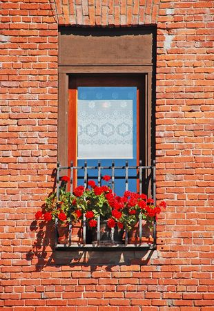 Old brick wall with window