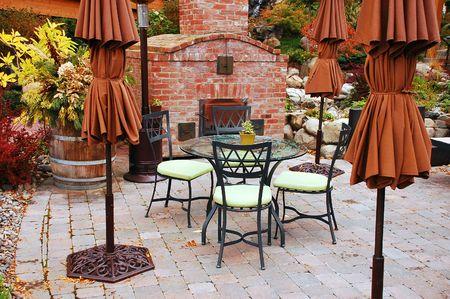 outdoor fireplace: Empty patio