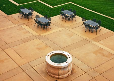 Empty patio with fountain