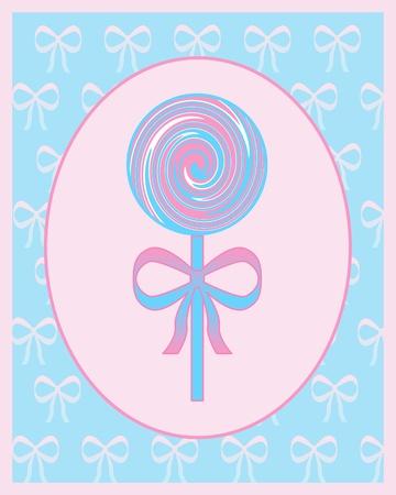 Pink and blue lollipop illustration