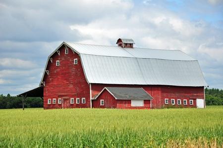 Oude rode schuur op de boerderij Stockfoto