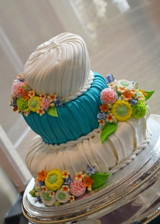 Colorful fondant wedding cake photo