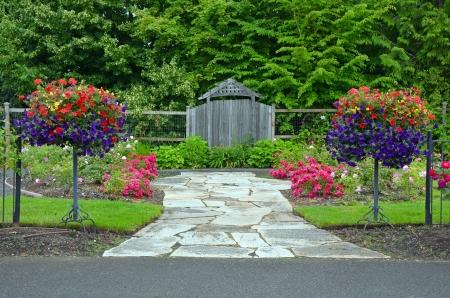 petunias: Colorful lush spring garden with petunia flower planters Stock Photo