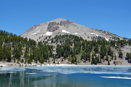 Blue mountain lake with melting ice in spring Stock Photo - 14462569