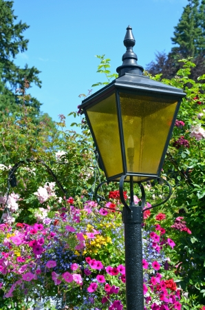 lampost: Black lampost in colorful flower garden
