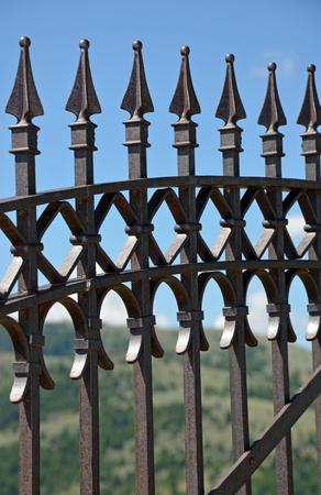 Black decorative metal fence with spikes Banco de Imagens
