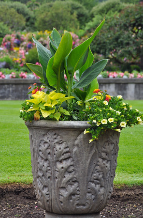 Decorative stone flower planter on lawn