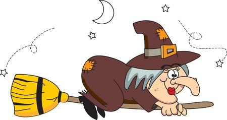wiedźma: Dobra czarownica leci na ilustracji miotÅ'a wektorowych.