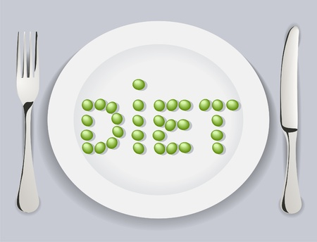 delftware: The Plate with tablewears pea words diet. The Vector illustration.