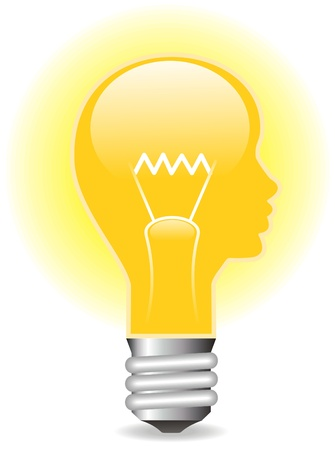 heat radiation: The Electric lamp in the form of the head of the person. The Vector illustration. Illustration