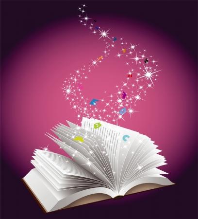 마법의: 오픈 책 교육 개념 일러스트