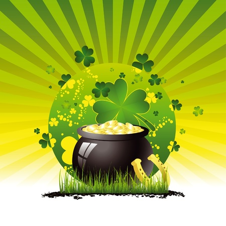 Saint Patrick's pot full of gold Stock Vector - 10983161