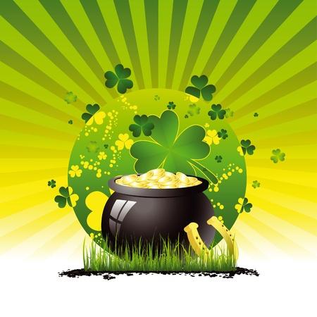 Saint Patricks pot full of gold Illustration