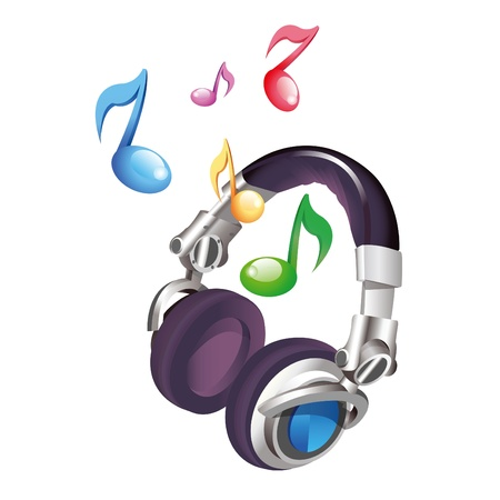 Headphones with floating music notes Stock Vector - 10983301
