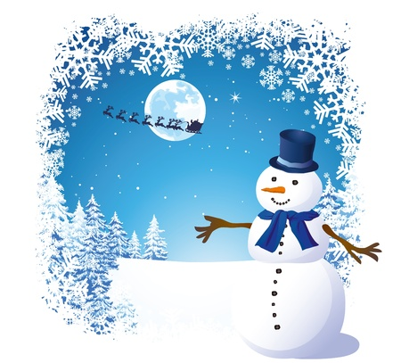 Cheerful snowman Stock Vector - 10983163