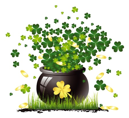 clover leaf shape: Saint Patrick pot with clovers and gold Illustration
