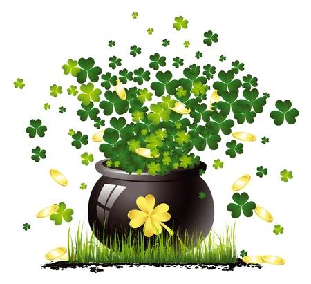 Saint Patrick Topf mit Gold und Klee Standard-Bild - 11031505