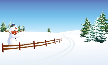 bonhomme de neige: Paysage d'hiver avec bonhomme de neige joyeux