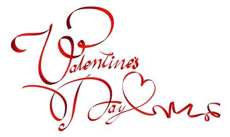 Valentine Ribbon Inschrift Standard-Bild - 11031523