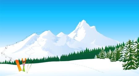 Winter mountain landscape Stock Vector - 11334287