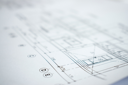 Close up picture of construction planning and design.