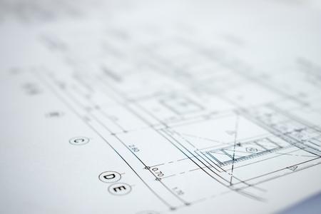 Nahaufnahme Bild der Bauplanung und Konstruktion. Standard-Bild