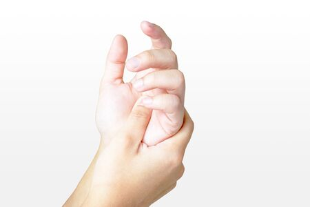 Pain in the hands of women by holding hands on,  isolate on white background. Imagens
